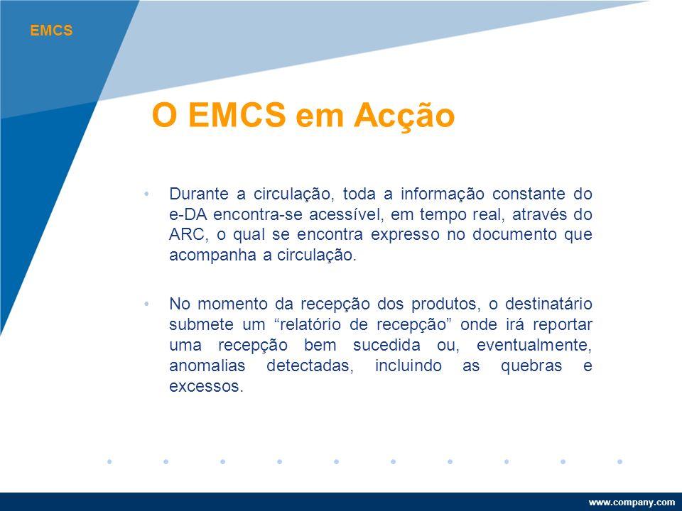 www.company.com O EMCS em Acção Durante a circulação, toda a informação constante do e-DA encontra-se acessível, em tempo real, através do ARC, o qual se encontra expresso no documento que acompanha a circulação.