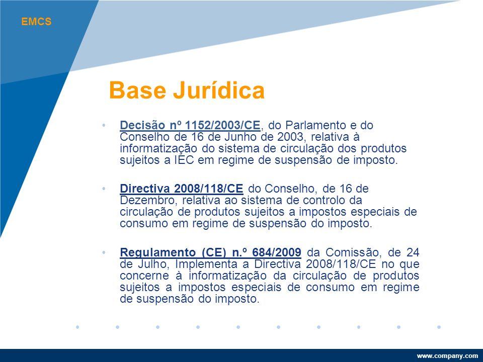www.company.com Base Jurídica Decisão nº 1152/2003/CE, do Parlamento e do Conselho de 16 de Junho de 2003, relativa à informatização do sistema de circulação dos produtos sujeitos a IEC em regime de suspensão de imposto.Decisão nº 1152/2003/CE Directiva 2008/118/CE do Conselho, de 16 de Dezembro, relativa ao sistema de controlo da circulação de produtos sujeitos a impostos especiais de consumo em regime de suspensão do imposto.