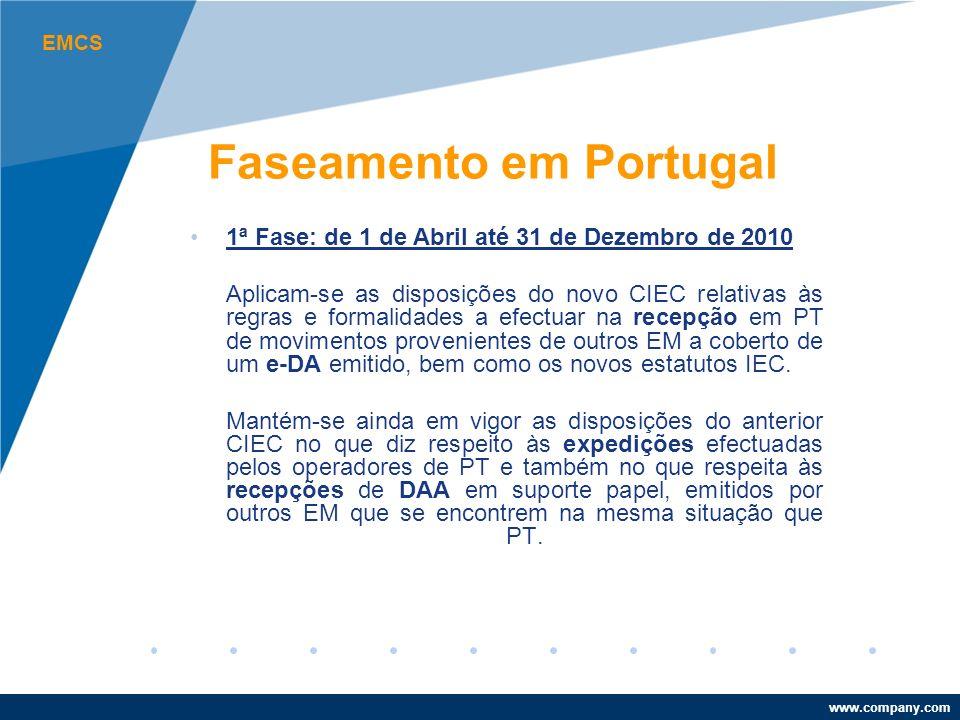 www.company.com 1ª Fase: de 1 de Abril até 31 de Dezembro de 2010 Aplicam-se as disposições do novo CIEC relativas às regras e formalidades a efectuar na recepção em PT de movimentos provenientes de outros EM a coberto de um e-DA emitido, bem como os novos estatutos IEC.