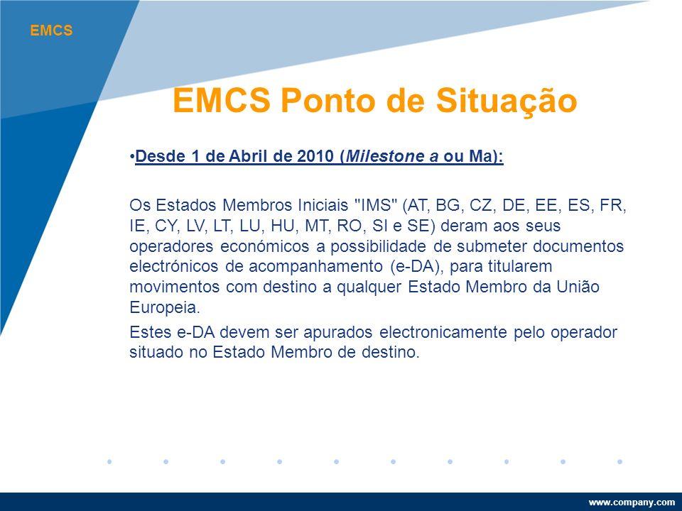 www.company.com EMCS EMCS Ponto de Situação Desde 1 de Abril de 2010 (Milestone a ou Ma): Os Estados Membros Iniciais IMS (AT, BG, CZ, DE, EE, ES, FR, IE, CY, LV, LT, LU, HU, MT, RO, SI e SE) deram aos seus operadores económicos a possibilidade de submeter documentos electrónicos de acompanhamento (e-DA), para titularem movimentos com destino a qualquer Estado Membro da União Europeia.
