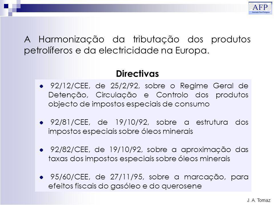 92/12/CEE, de 25/2/92, sobre o Regime Geral de Detenção, Circulação e Controlo dos produtos objecto de impostos especiais de consumo 92/81/CEE, de 19/10/92, sobre a estrutura dos impostos especiais sobre óleos minerais 92/82/CEE, de 19/10/92, sobre a aproximação das taxas dos impostos especiais sobre óleos minerais 95/60/CEE, de 27/11/95, sobre a marcação, para efeitos fiscais do gasóleo e do querosene J.