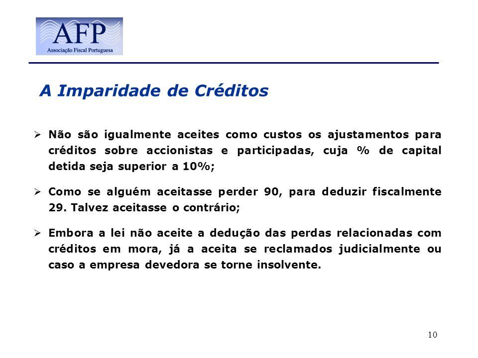 A Imparidade de Créditos Não são igualmente aceites como custos os ajustamentos para créditos sobre accionistas e participadas, cuja % de capital deti