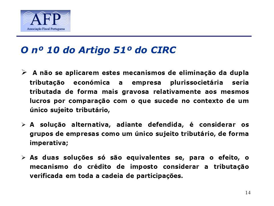 O nº 10 do Artigo 51º do CIRC A não se aplicarem estes mecanismos de eliminação da dupla tributação económica a empresa plurissocietária seria tributa