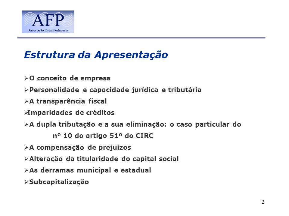 Estrutura da Apresentação O conceito de empresa Personalidade e capacidade jurídica e tributária A transparência fiscal Imparidades de créditos A dupl