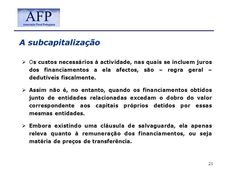 A subcapitalização Os custos necessários à actividade, nas quais se incluem juros dos financiamentos a ela afectos, são – regra geral – dedutíveis fis