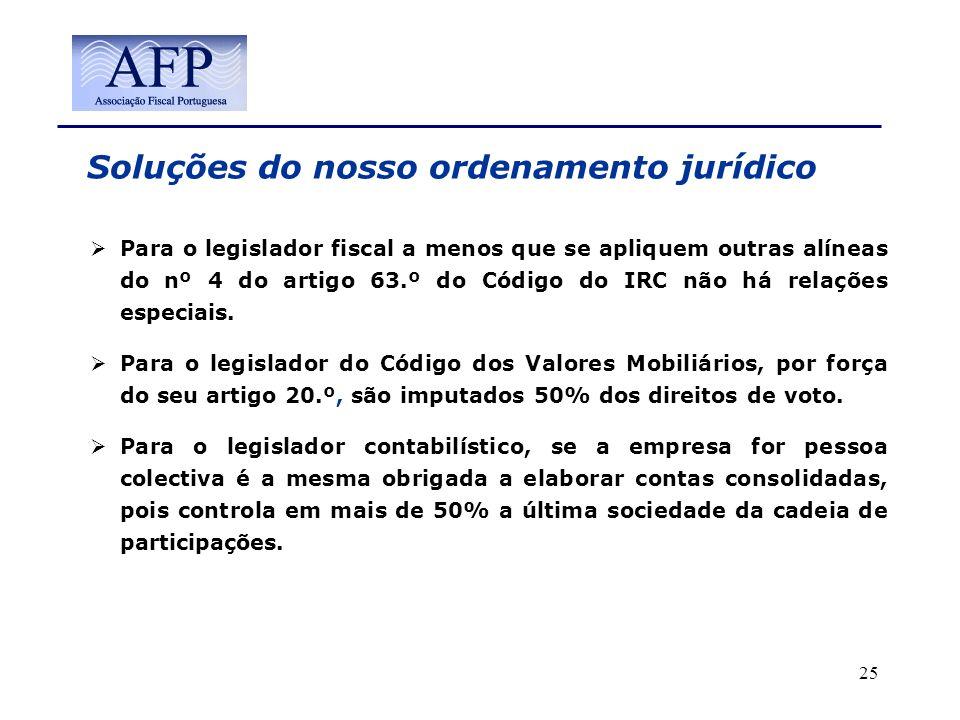 Soluções do nosso ordenamento jurídico Para o legislador fiscal a menos que se apliquem outras alíneas do nº 4 do artigo 63.º do Código do IRC não há