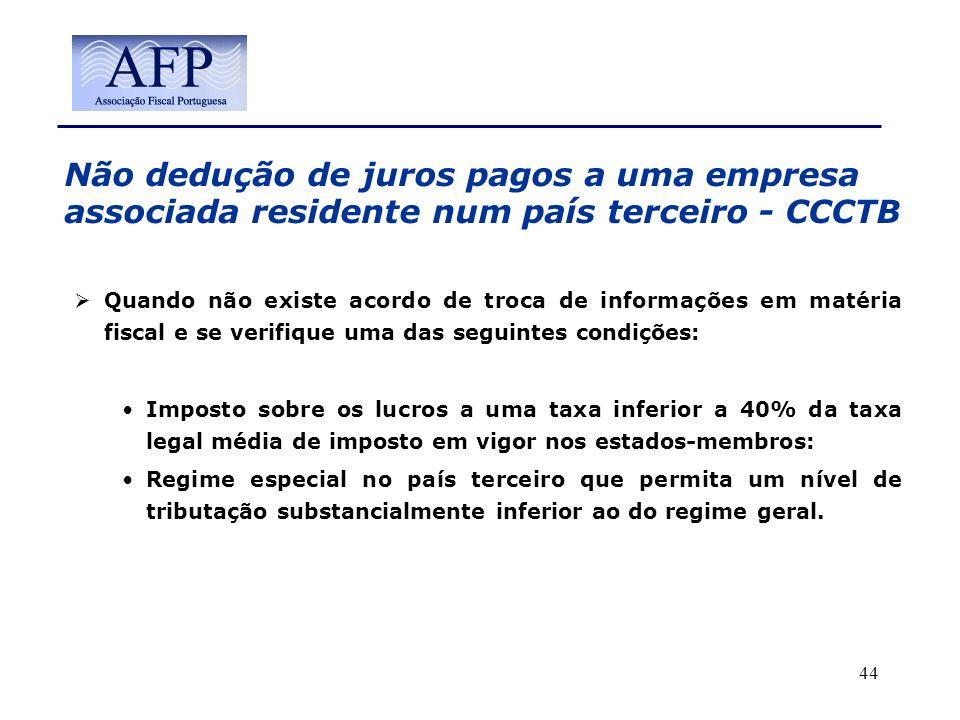 Não dedução de juros pagos a uma empresa associada residente num país terceiro - CCCTB Quando não existe acordo de troca de informações em matéria fis