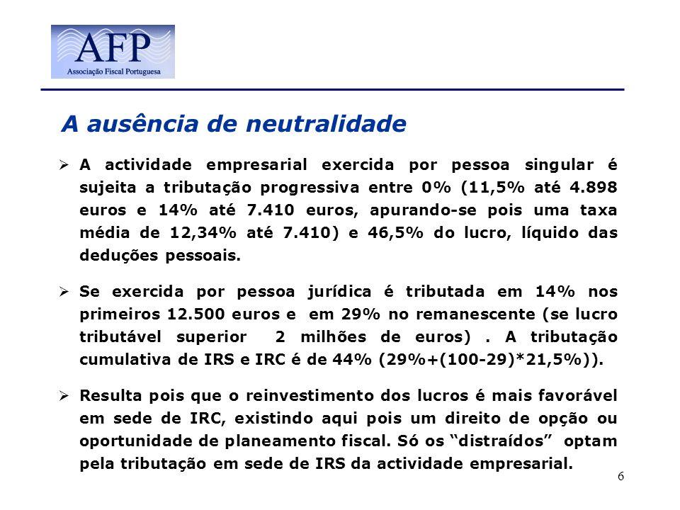 A ausência de neutralidade A actividade empresarial exercida por pessoa singular é sujeita a tributação progressiva entre 0% (11,5% até 4.898 euros e