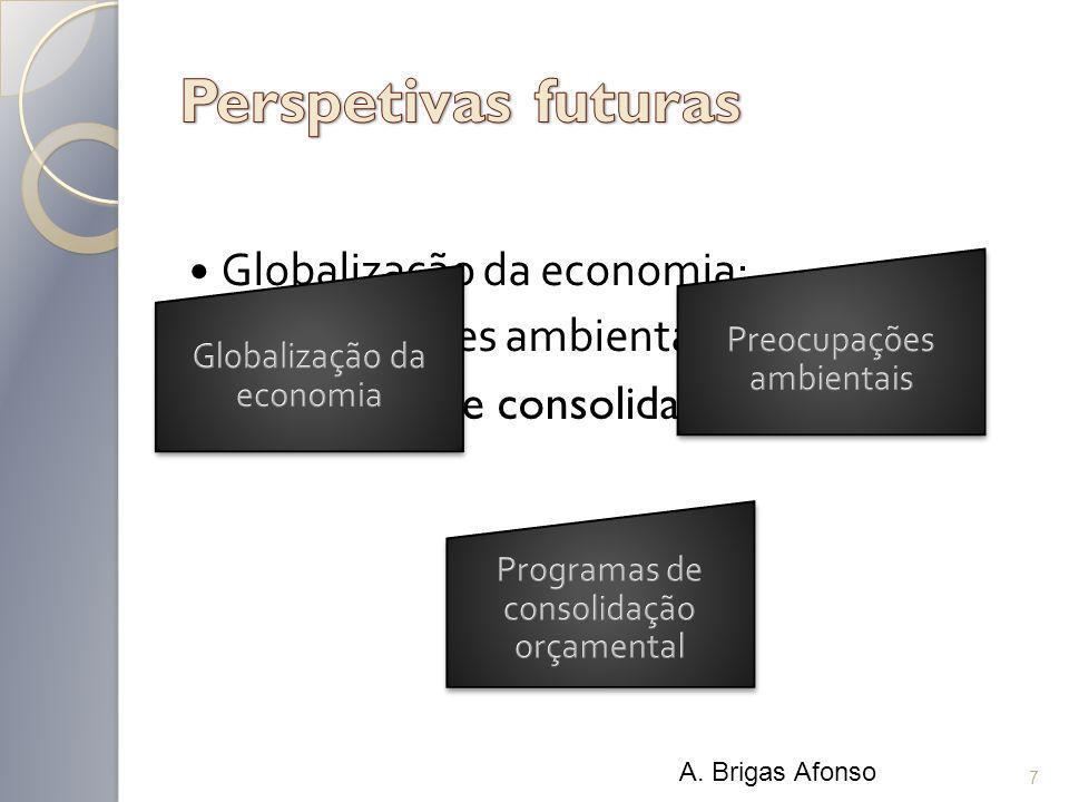 Globalização da economia; Preocupações ambientais; Programas de consolidação orçamental. 7 A. Brigas Afonso