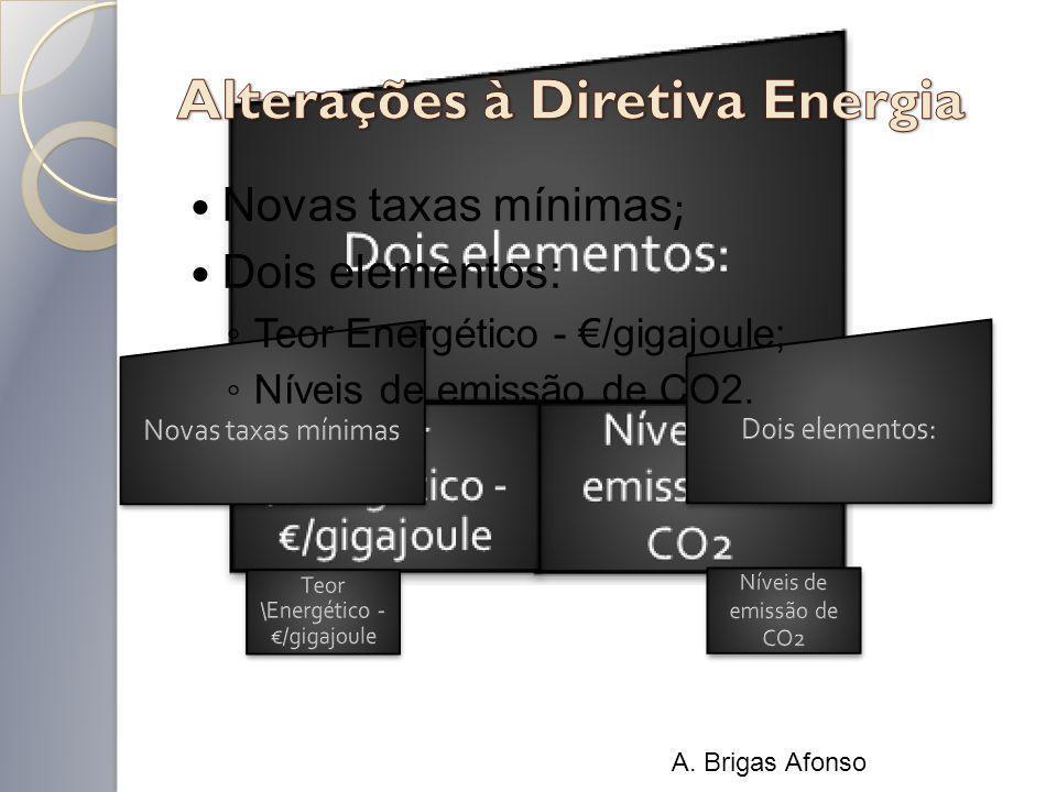 Novas taxas mínimas ; Dois elementos: Teor Energético - /gigajoule; Níveis de emissão de CO2. A. Brigas Afonso