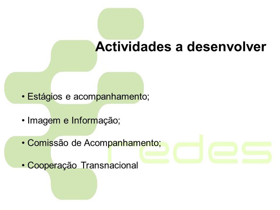 Estágios e acompanhamento; Imagem e Informação; Comissão de Acompanhamento; Cooperação Transnacional Actividades a desenvolver