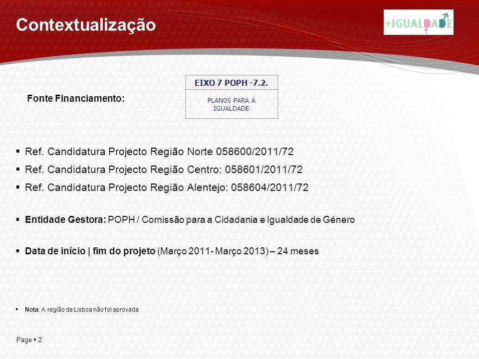 Page 2 Contextualização Ref. Candidatura Projecto Região Norte 058600/2011/72 Ref. Candidatura Projecto Região Centro: 058601/2011/72 Ref. Candidatura