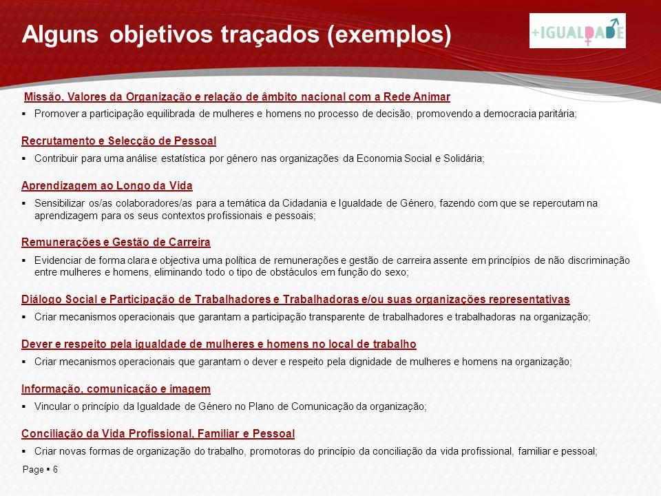 Page 6 Alguns objetivos traçados (exemplos) Promover a participação equilibrada de mulheres e homens no processo de decisão, promovendo a democracia p