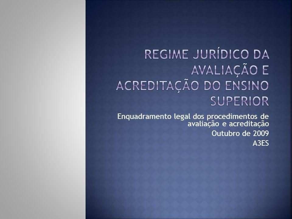 Enquadramento legal dos procedimentos de avaliação e acreditação Outubro de 2009 A3ES