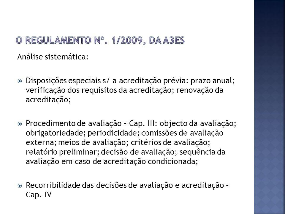 Análise sistemática: Disposições especiais s/ a acreditação prévia: prazo anual; verificação dos requisitos da acreditação; renovação da acreditação; Procedimento de avaliação – Cap.