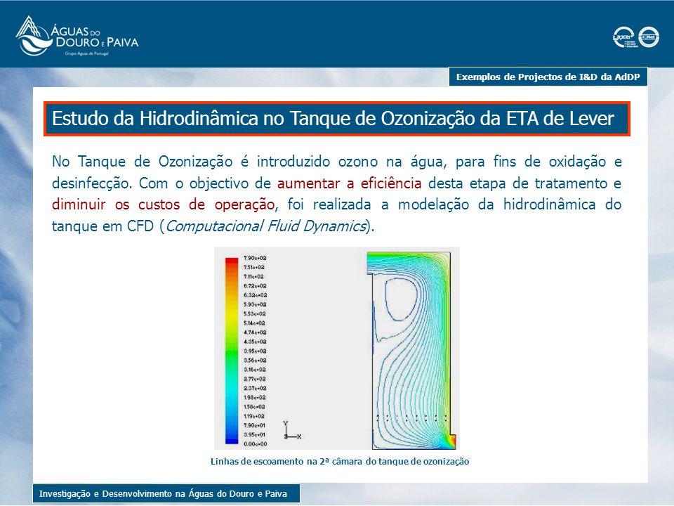 Exemplos de Projectos de I&D da AdDP Investigação e Desenvolvimento na Águas do Douro e Paiva Diferentes configurações de deflectores testadas no modelo de simulação Utilizando o modelo de simulação criado, foram testadas diferentes configurações de deflectores que alterassem as linhas de escoamento no interior do tanque.
