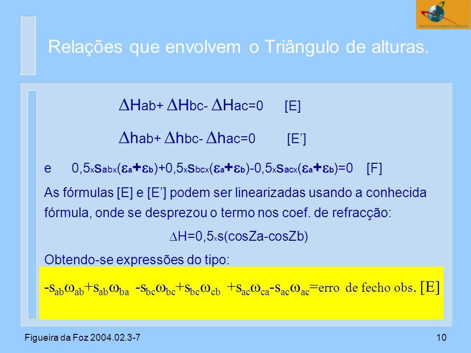 Figueira da Foz 2004.02.3-710 H ab+ H bc- H ac=0 [E] h ab+ h bc- h ac=0 [E] e0,5 x s ab x ( a + b )+0,5 x s bc x ( a + b )-0,5 x s ac x ( a + b )=0 [F] As fórmulas [E] e [E] podem ser linearizadas usando a conhecida fórmula, onde se desprezou o termo nos coef.