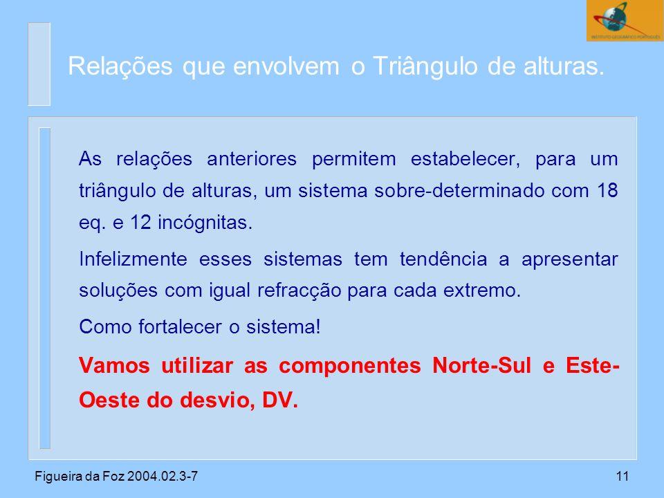 Figueira da Foz 2004.02.3-711 As relações anteriores permitem estabelecer, para um triângulo de alturas, um sistema sobre-determinado com 18 eq.