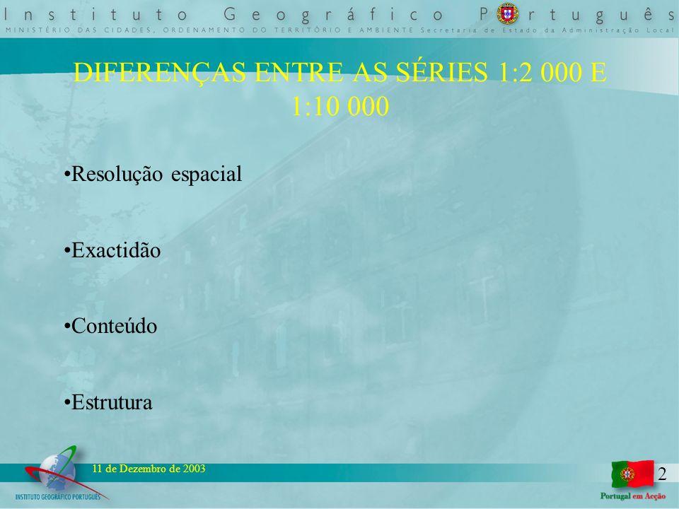 2 11 de Dezembro de 2003 DIFERENÇAS ENTRE AS SÉRIES 1:2 000 E 1:10 000 Resolução espacial Exactidão Conteúdo Estrutura