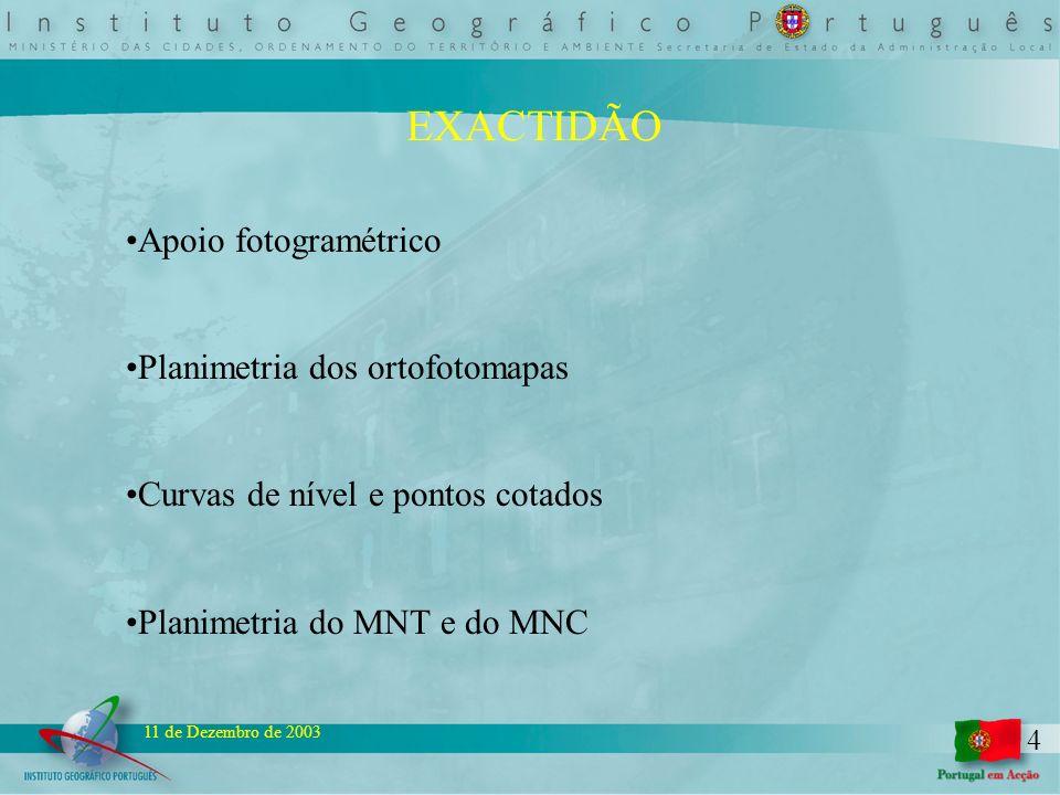 4 11 de Dezembro de 2003 EXACTIDÃO Apoio fotogramétrico Planimetria dos ortofotomapas Curvas de nível e pontos cotados Planimetria do MNT e do MNC
