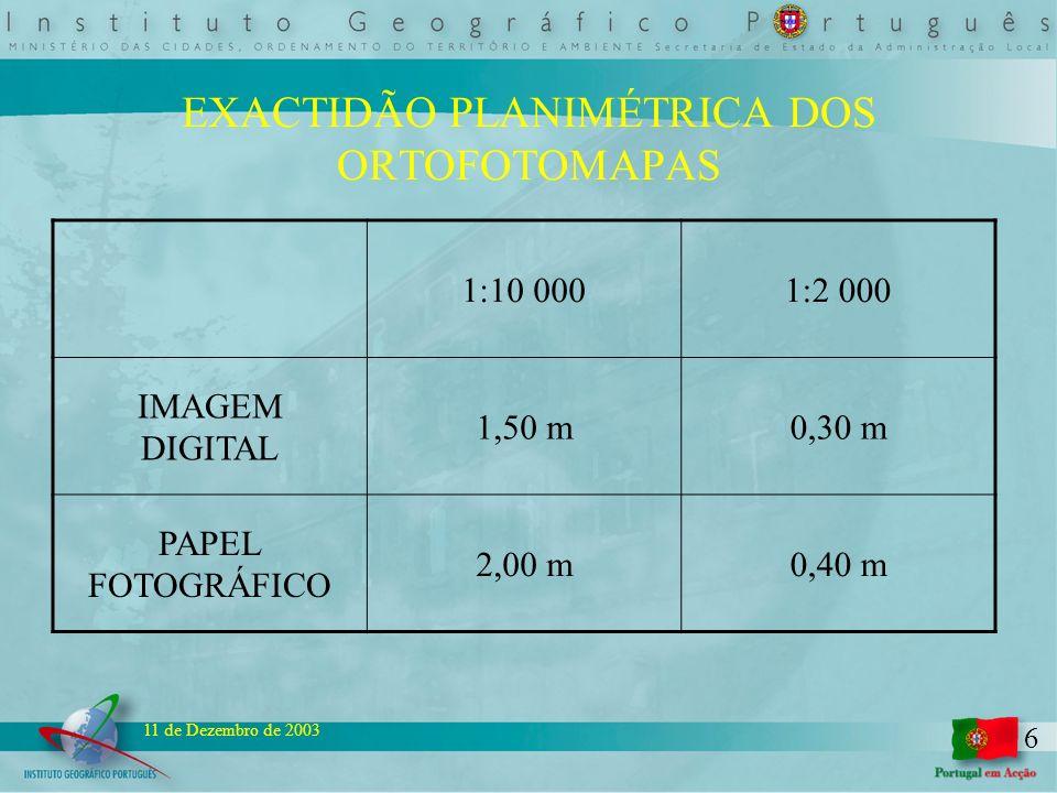 6 11 de Dezembro de 2003 EXACTIDÃO PLANIMÉTRICA DOS ORTOFOTOMAPAS 1:10 0001:2 000 IMAGEM DIGITAL 1,50 m0,30 m PAPEL FOTOGRÁFICO 2,00 m0,40 m