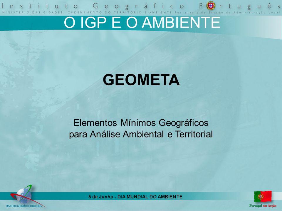 5 de Junho - DIA MUNDIAL DO AMBIENTE O IGP E O AMBIENTE GEOMETA Elementos Mínimos Geográficos para Análise Ambiental e Territorial