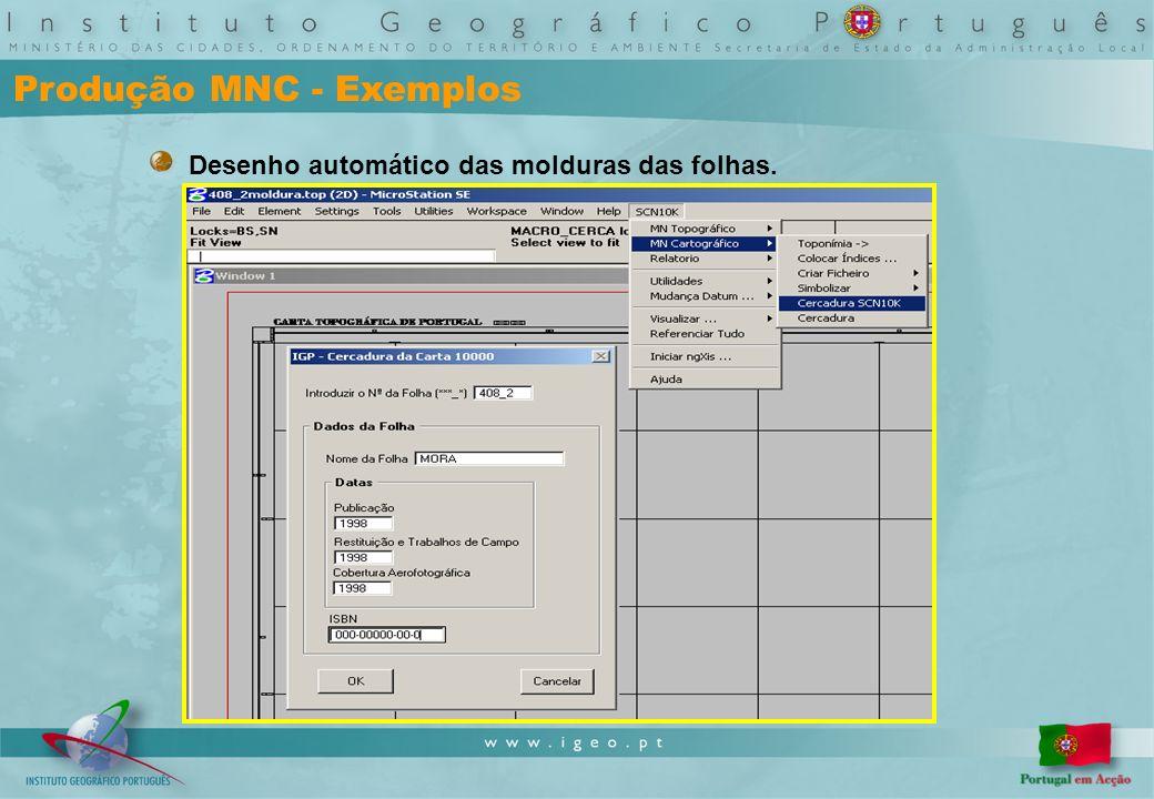 Produção MNC - Exemplos Desenho automático das molduras das folhas.