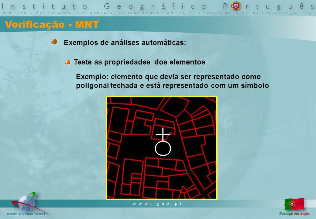 Verificação - MNT Exemplos de análises automáticas: Teste às propriedades dos elementos Exemplo: elemento que devia ser representado como poligonal fechada e está representado com um símbolo