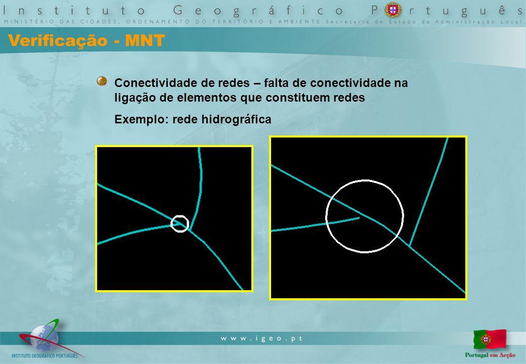 Verificação - MNT Conectividade de redes – falta de conectividade na ligação de elementos que constituem redes Exemplo: rede hidrográfica