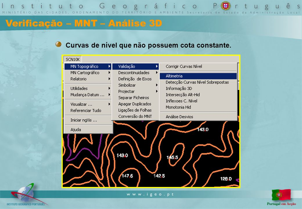 Verificação – MNT – Análise 3D Curvas de nível que não possuem cota constante.