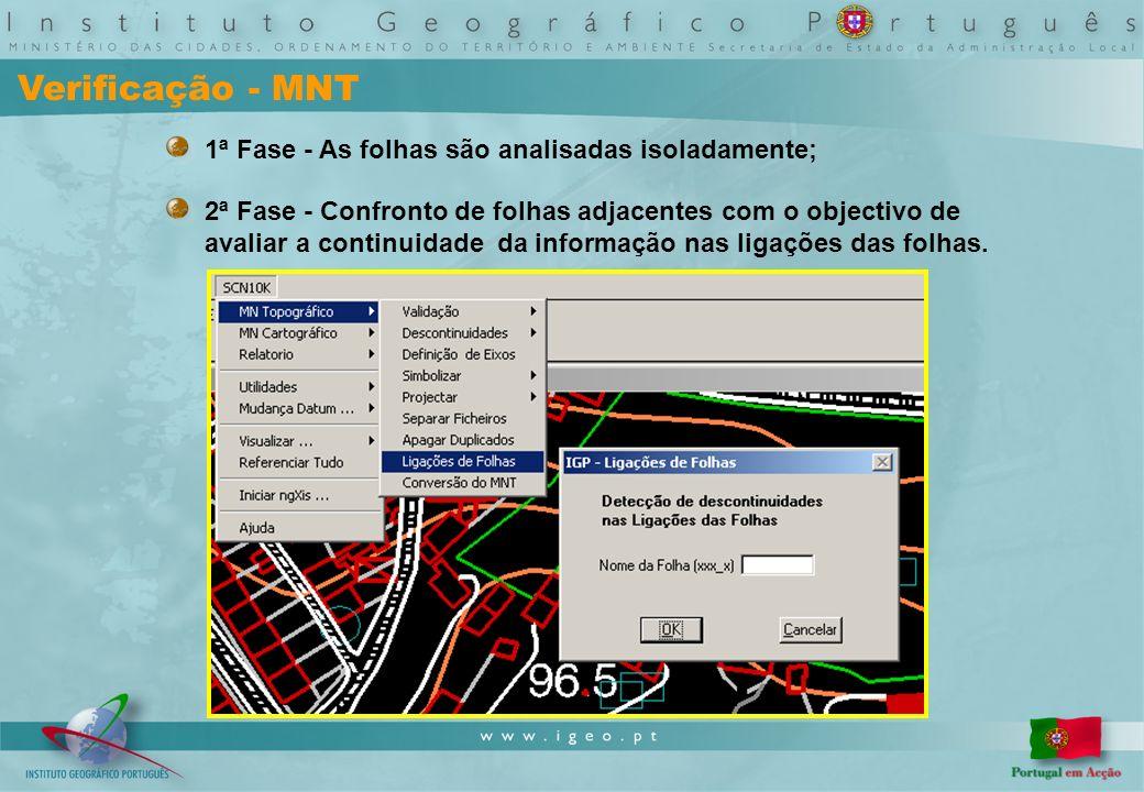 Verificação - MNT 1ª Fase - As folhas são analisadas isoladamente; 2ª Fase - Confronto de folhas adjacentes com o objectivo de avaliar a continuidade da informação nas ligações das folhas.