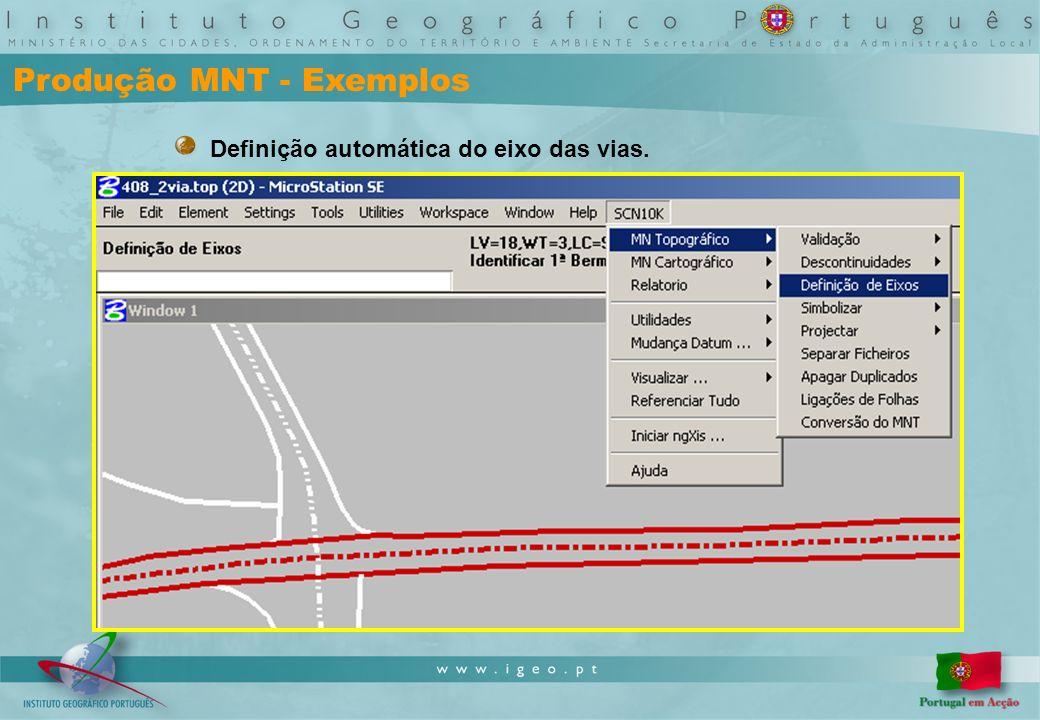 Produção MNT - Exemplos Definição automática do eixo das vias.