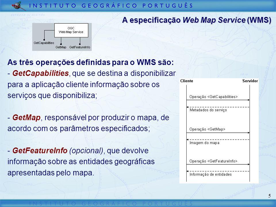 6 A especificação Web Map Service (WMS) User 1User 2 WMS GIS DB 1GIS DB 2 WMS GIS DB 3 WMS Internet - Normaliza os pedidos dos clientes e as respostas do servidor; - Permite integrar numa única interface dados provenientes de diferentes serviços; - Os serviços podem ser incluídos em diferentes catálogos; - O utilizador obtém uma imagem do mapa e não os dados.