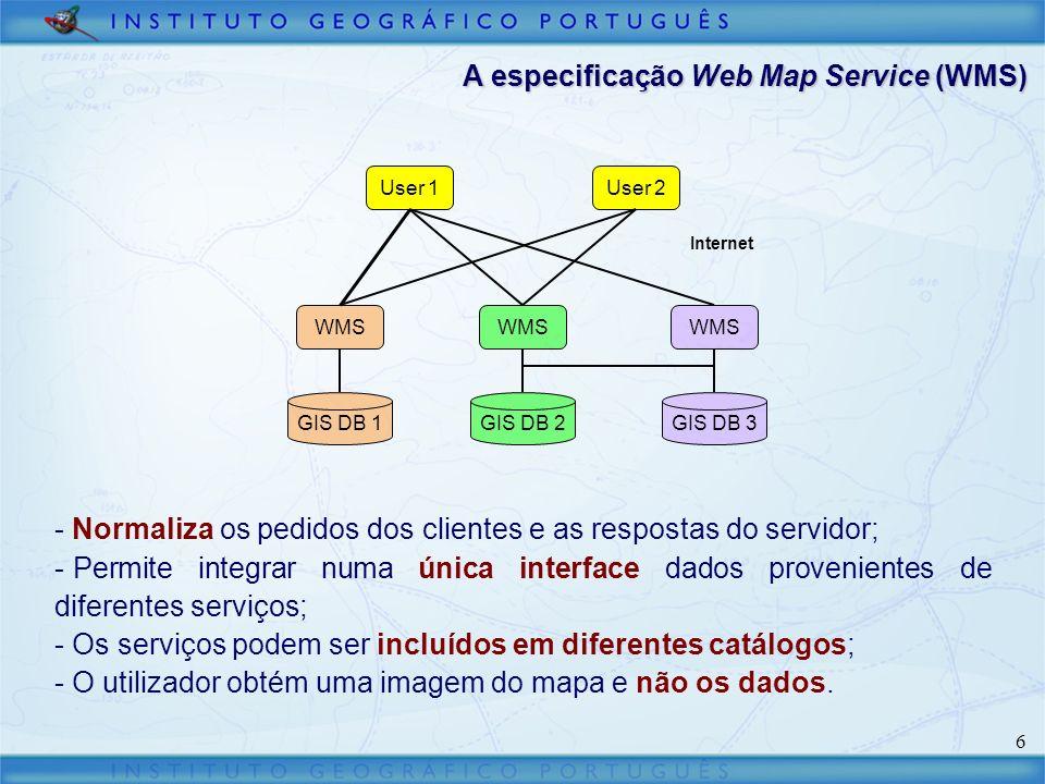 17 Considerações finais Potencialidades associadas à especificação WMS: - Um cliente WMS, pode ser simples e fácil de implementar; - Possibilidade de usar uma única interface para consultar e integrar serviços de mapas distintos; - Existência de muitos servidores de mapas WMS; - Aplicação em software SIG desktop; - Reconhecimento dos fabricantes de software SIG comercial através da inclusão de extensões que implementem a especificação WMS nos seus produtos.