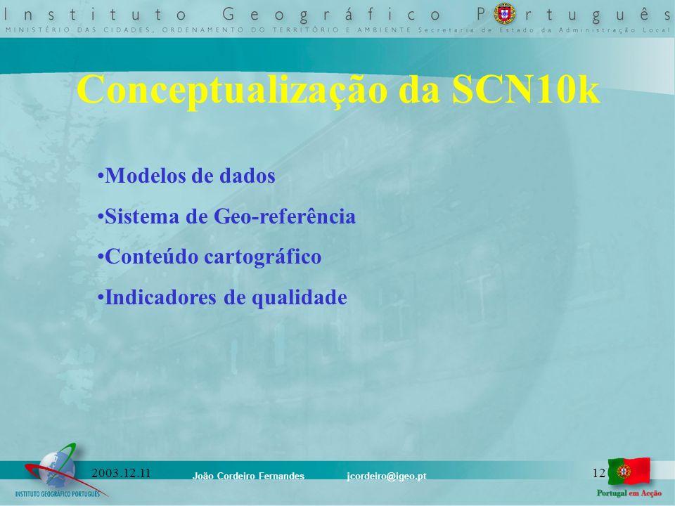 João Cordeiro Fernandes jcordeiro@igeo.pt 122003.12.11 Conceptualização da SCN10k Modelos de dados Sistema de Geo-referência Conteúdo cartográfico Ind