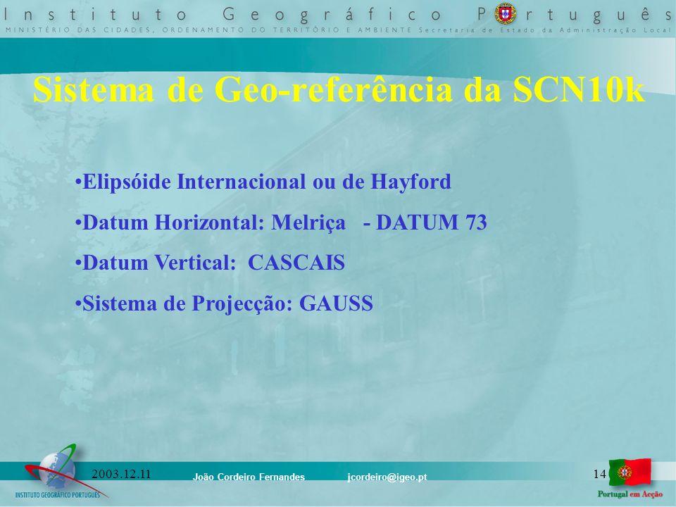 João Cordeiro Fernandes jcordeiro@igeo.pt 142003.12.11 Sistema de Geo-referência da SCN10k Elipsóide Internacional ou de Hayford Datum Horizontal: Mel