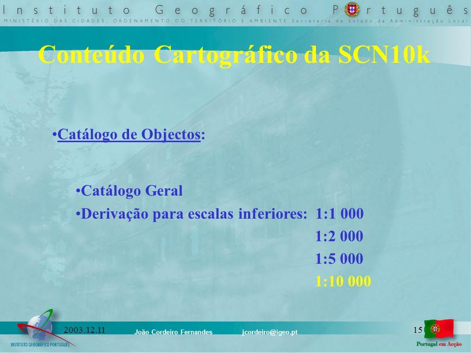 João Cordeiro Fernandes jcordeiro@igeo.pt 152003.12.11 Conteúdo Cartográfico da SCN10k Catálogo de Objectos: Catálogo Geral Derivação para escalas inf