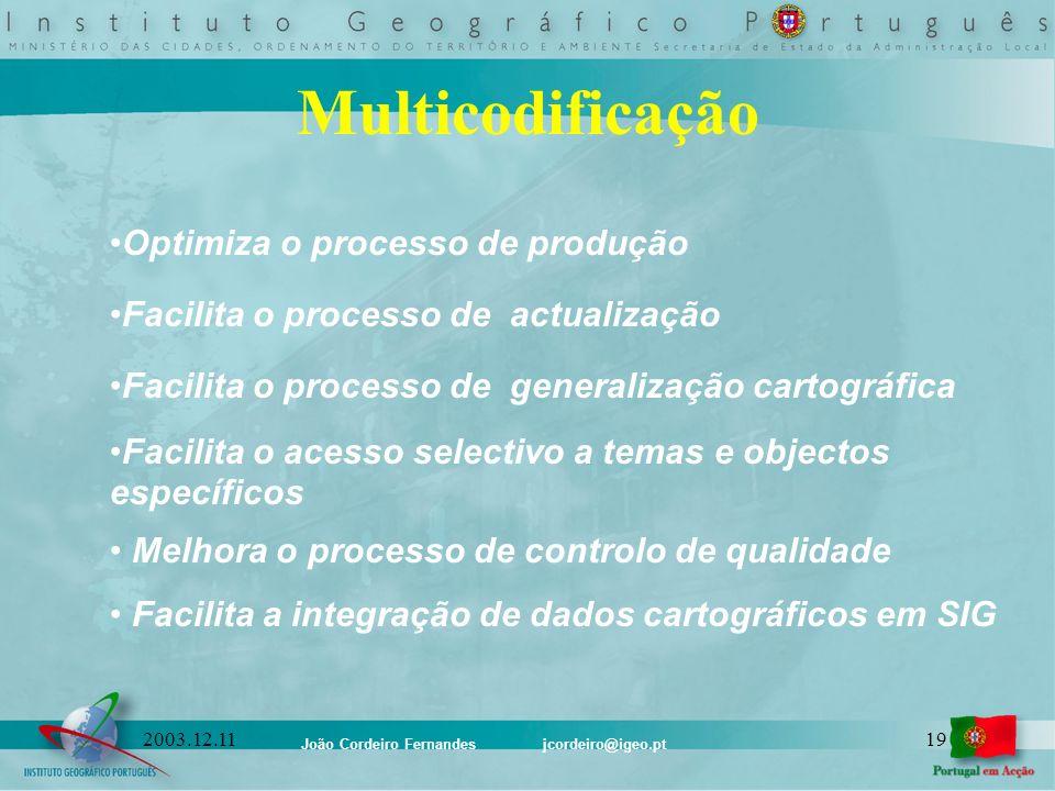 João Cordeiro Fernandes jcordeiro@igeo.pt 192003.12.11 Optimiza o processo de produção Facilita o processo de actualização Facilita o processo de gene