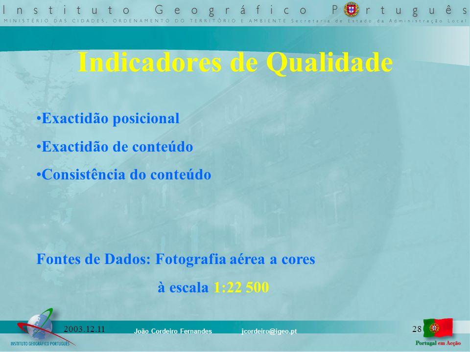 João Cordeiro Fernandes jcordeiro@igeo.pt 282003.12.11 Indicadores de Qualidade Exactidão posicional Exactidão de conteúdo Consistência do conteúdo Fo