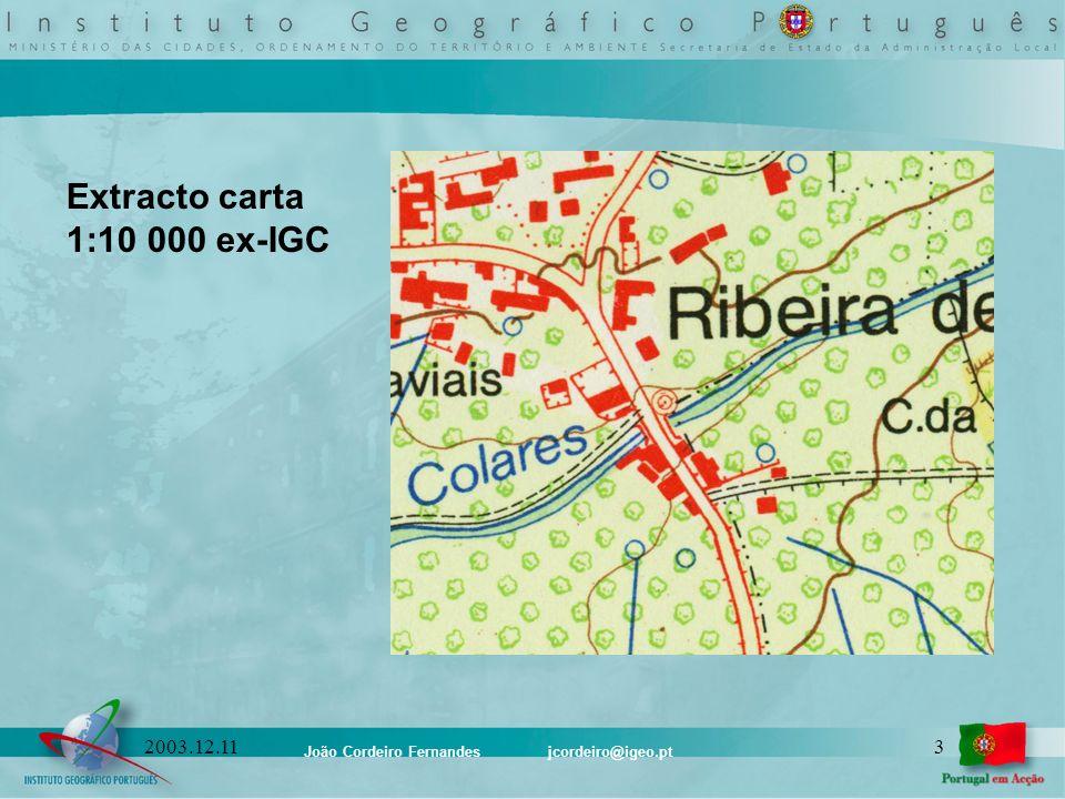 João Cordeiro Fernandes jcordeiro@igeo.pt 32003.12.11 Extracto carta 1:10 000 ex-IGC