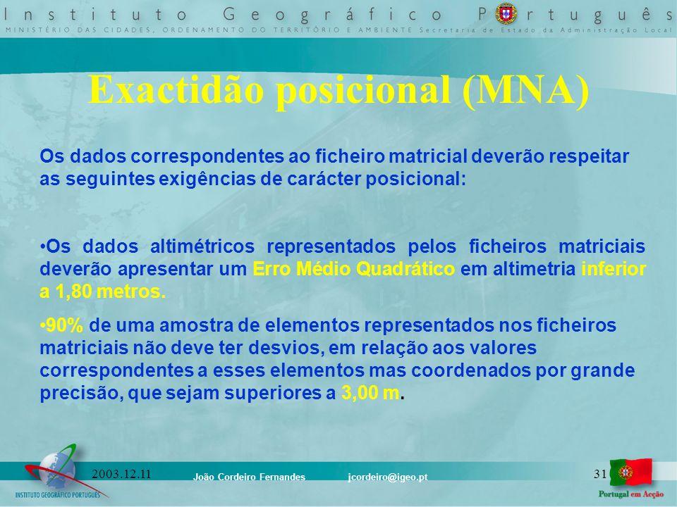 João Cordeiro Fernandes jcordeiro@igeo.pt 312003.12.11 Exactidão posicional (MNA) Os dados correspondentes ao ficheiro matricial deverão respeitar as