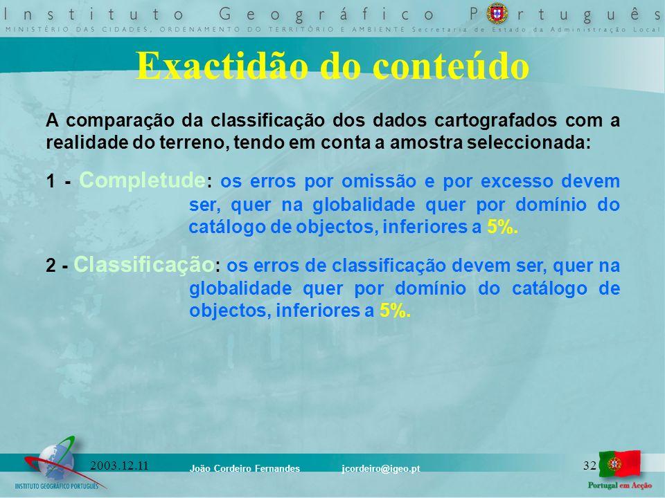João Cordeiro Fernandes jcordeiro@igeo.pt 322003.12.11 Exactidão do conteúdo A comparação da classificação dos dados cartografados com a realidade do