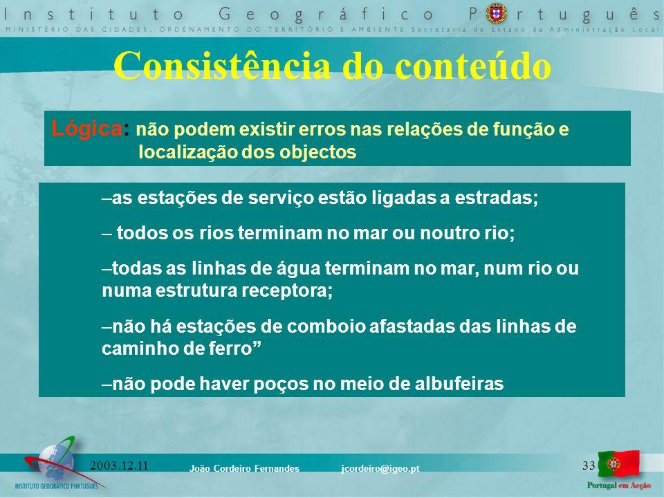 João Cordeiro Fernandes jcordeiro@igeo.pt 332003.12.11 Consistência do conteúdo Lógica: não podem existir erros nas relações de função e localização d