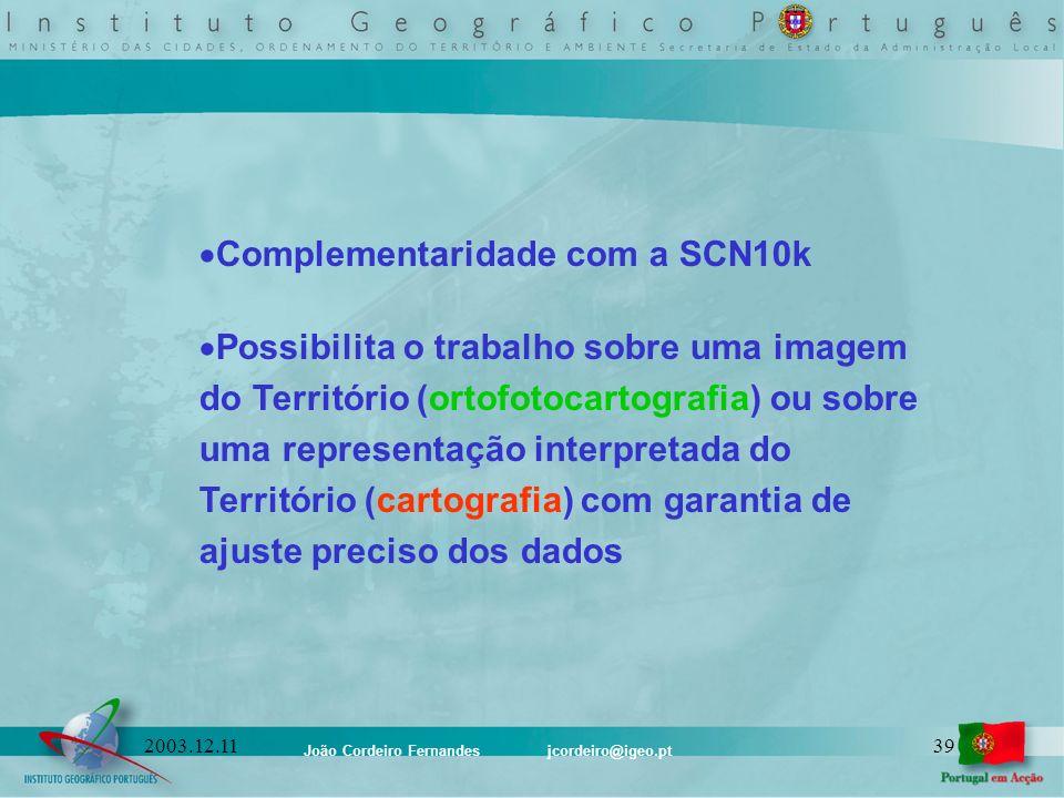 João Cordeiro Fernandes jcordeiro@igeo.pt 392003.12.11 Complementaridade com a SCN10k Possibilita o trabalho sobre uma imagem do Território (ortofotoc