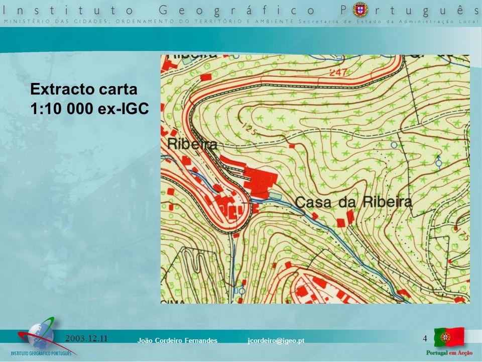 João Cordeiro Fernandes jcordeiro@igeo.pt 152003.12.11 Conteúdo Cartográfico da SCN10k Catálogo de Objectos: Catálogo Geral Derivação para escalas inferiores: 1:1 000 1:2 000 1:5 000 1:10 000