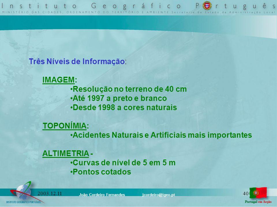João Cordeiro Fernandes jcordeiro@igeo.pt 402003.12.11 Três Níveis de Informação: IMAGEM: Resolução no terreno de 40 cm Até 1997 a preto e branco Desd