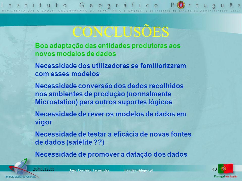João Cordeiro Fernandes jcordeiro@igeo.pt 432003.12.11 CONCLUSÕES Boa adaptação das entidades produtoras aos novos modelos de dados Necessidade dos ut