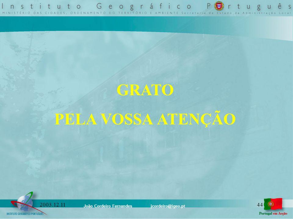 João Cordeiro Fernandes jcordeiro@igeo.pt 442003.12.11 GRATO PELA VOSSA ATENÇÃO