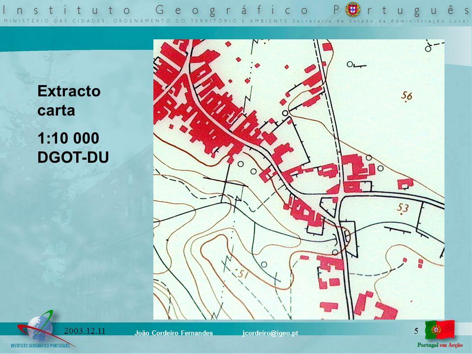João Cordeiro Fernandes jcordeiro@igeo.pt 52003.12.11 Extracto carta 1:10 000 DGOT-DU