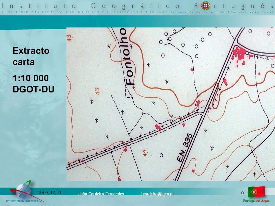 João Cordeiro Fernandes jcordeiro@igeo.pt 172003.12.11 Extracto Catálogo para a escala 1:10 000